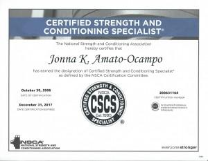 NSCA new CSCS certificate